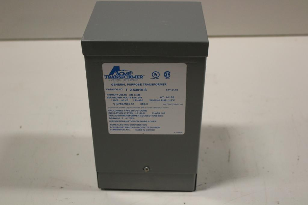 1 KVA ACME Dry Type Transformer 240/480-120/240 Volt 1 Phase  New Surplus with a 1 year warranty!