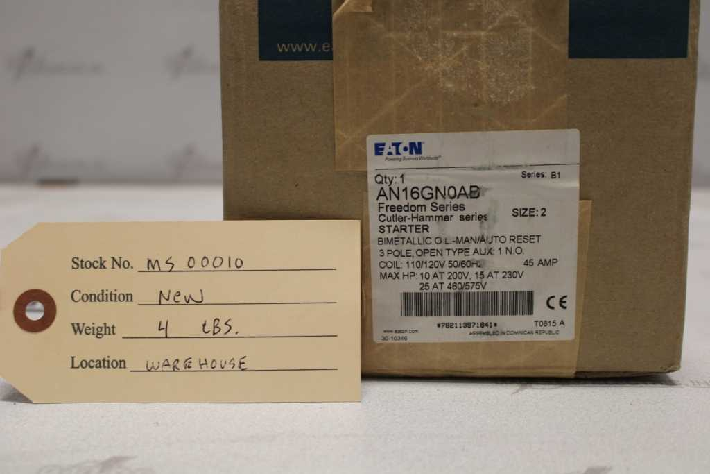 EATON Size 2 FVR Motor Starter Catalog Number AN16GN0AB