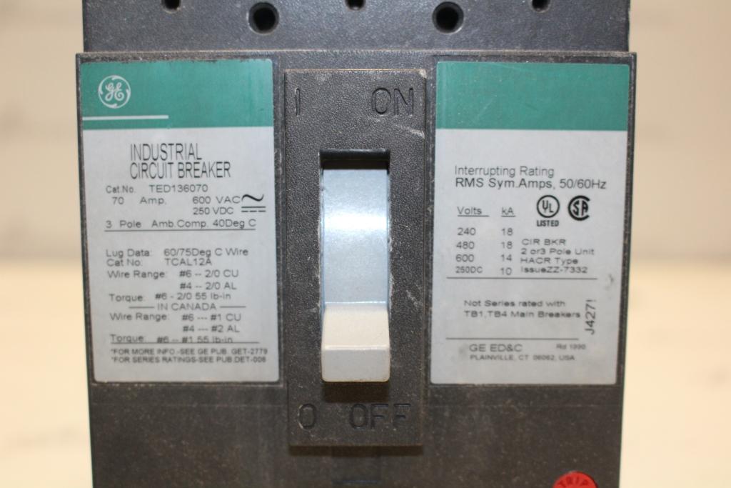 General Electric TED136070 Molded Case Circuit Breaker 70 Amp 600VAC/250VDC Volt