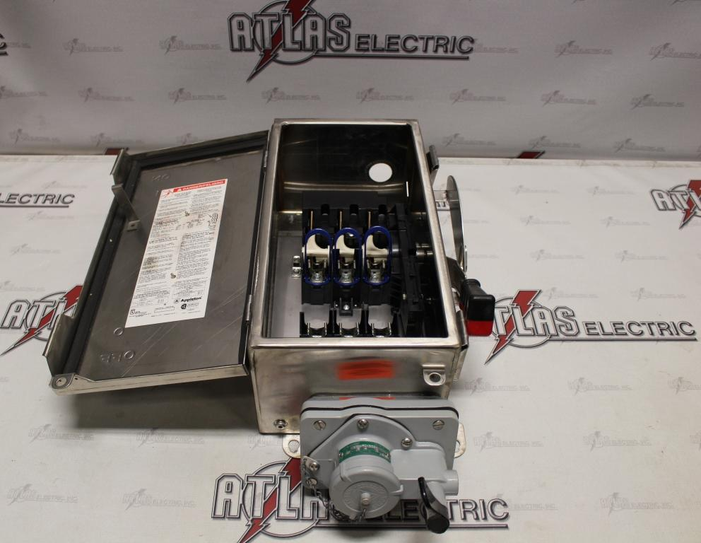 Appleton 30 Amp 3 Pole Fusible Safety Switch Catalog Number WSRD3352N4SD 600 Volt N3R