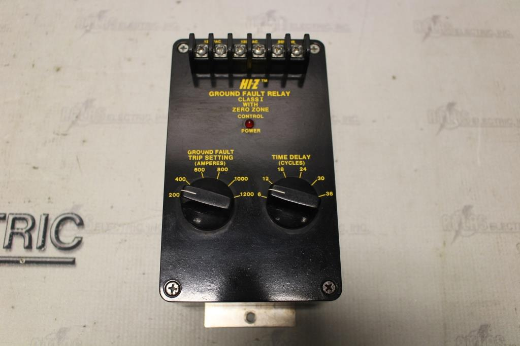 HI-Z HI-Z GROUND FAULT RELAY 200-1200 AMP TRIP SETTING TIME DELAY 6-36 CYCLES