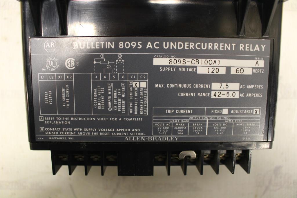 ALLEN BRADLEY 809S-CB100A1 UNDERCURRENT RELAY 120V SUPPLY VOLTAGE