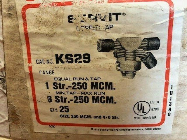 BURNDY KS29 SPLIT BOLT #1 - 250MCM COPPER CONDUCTORS