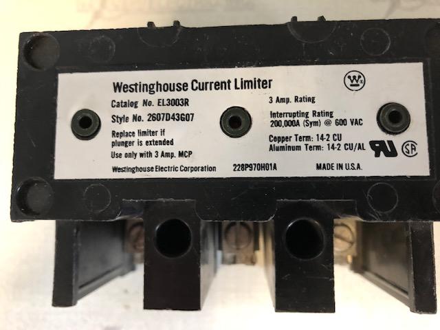 WESTINGHOUSE EL3003R CURRENT LIMITER 3 AMP 600V FOR MCP BREAKER