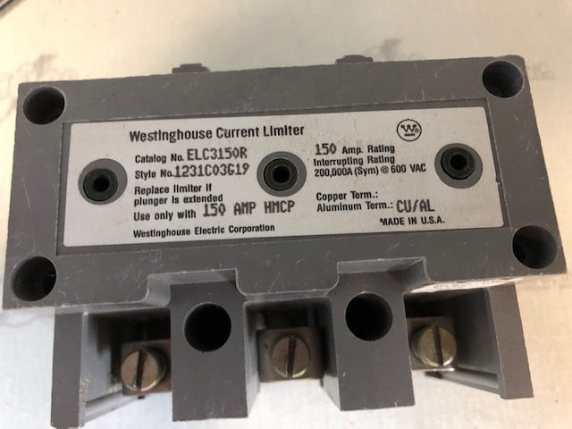 WESTINGHOUSE ELC3150R CURRENT LIMITER 150AMP 600VAC FOR HMCP150 BREAKER ONLY