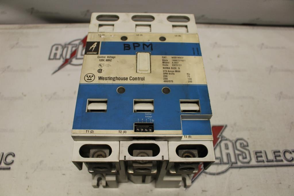 Westinghouse Size 5 CONTACTOR Motor Starter Catalog Number W201K5CF 120 Volt Coil