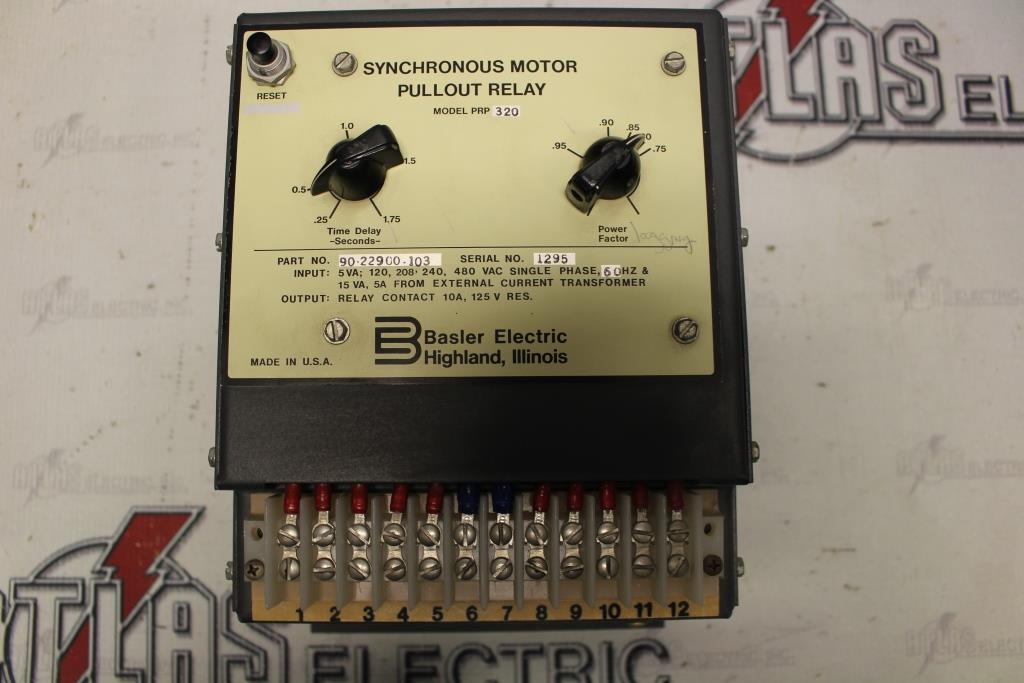 BASLER MODEL# PRP320 SYNCHRONOUS MOTOR PULLOUT RELAY PN# 90-22900-103