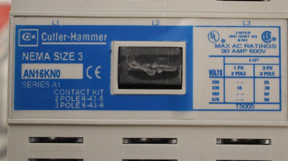 CUTLER HAMMER Size 3 FVNR Motor Starter Catalog Number AN16KNO