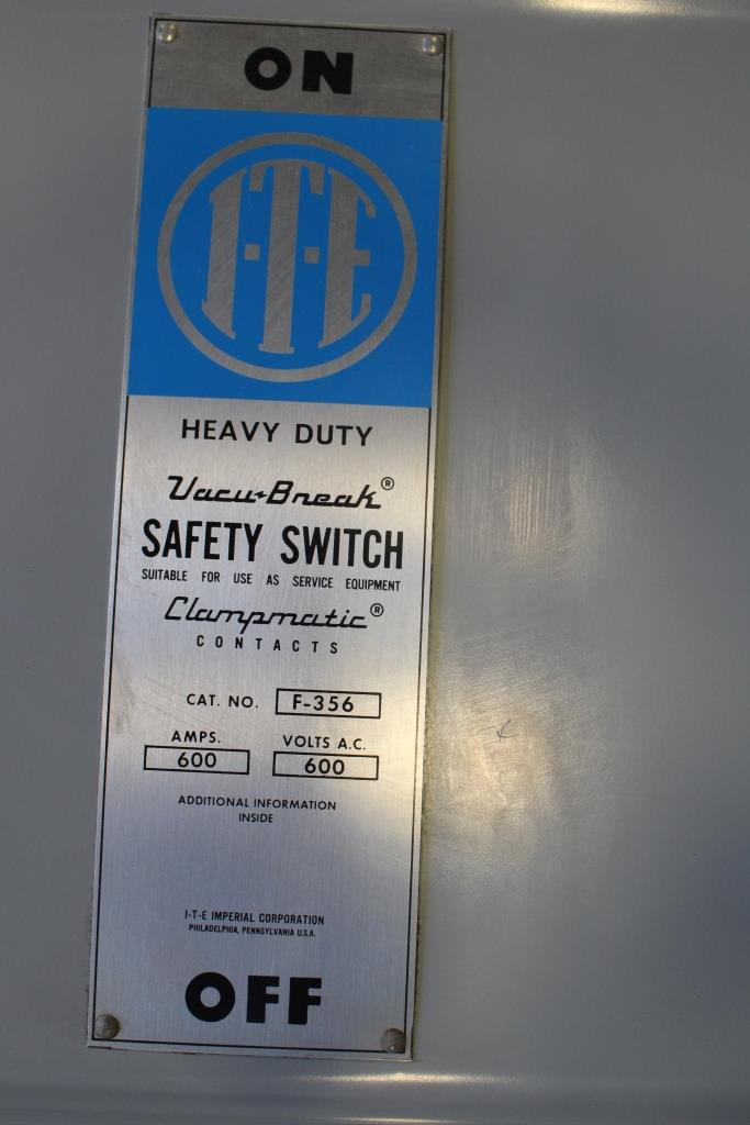 ITE 600 Amp 3 Pole Fusible Safety Switch Catalog Number F-356 600 Volt N1