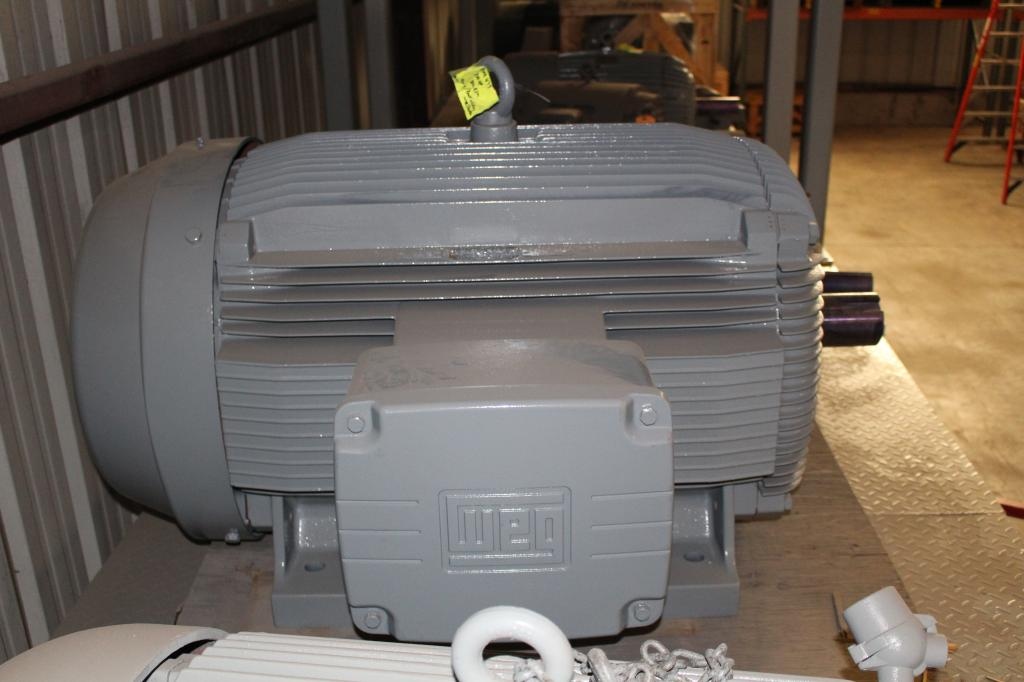 250 HP WEG W21 Severe Duty Motor 890 RPM 586/7T Frame 460 Volt TEFC  New Surplus with 1 year Warranty!